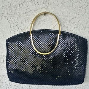 Vintage Sequin Black Clutch Handbag Top Handle